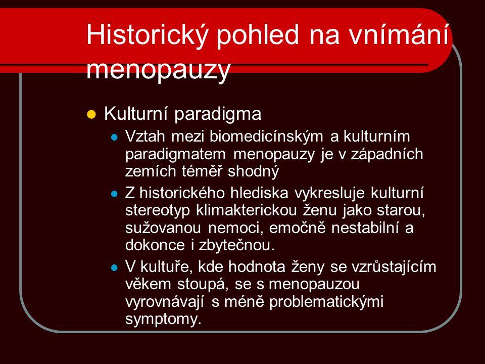 Historický pohled na vnímání menopauzy Kulturní paradigma Vztah mezi biomedicínským a kulturním paradigmatem menopauzy je v západních zemích téměř sho