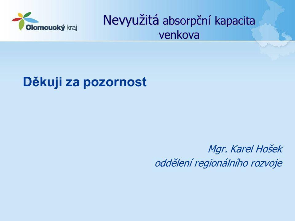 Nevyužitá absorpční kapacita venkova Mgr. Karel Hošek oddělení regionálního rozvoje Děkuji za pozornost