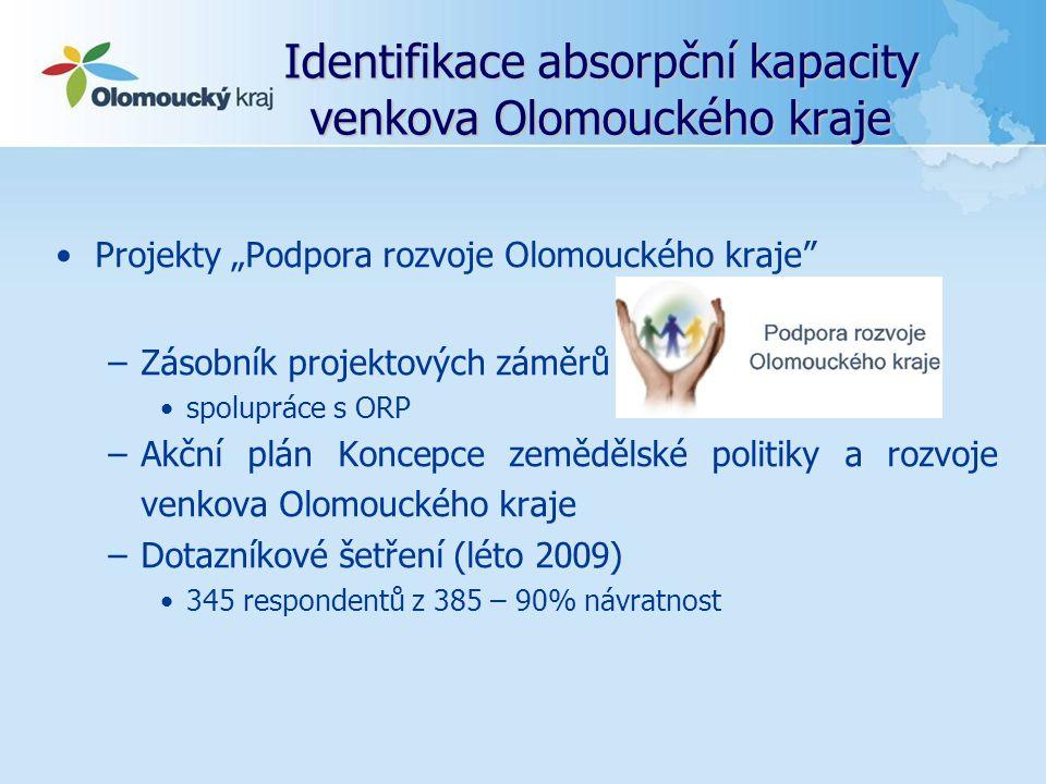 """Identifikace absorpční kapacity venkova Olomouckého kraje Projekty """"Podpora rozvoje Olomouckého kraje"""" –Zásobník projektových záměrů spolupráce s ORP"""