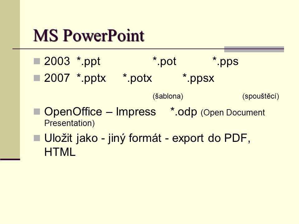 MS PowerPoint 2003 *.ppt*.pot*.pps 2007 *.pptx*.potx*.ppsx (šablona)(spouštěcí) OpenOffice – Impress *.odp (Open Document Presentation) Uložit jako -
