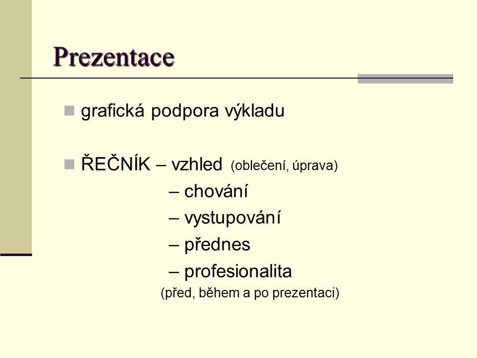 Prezentace grafická podpora výkladu ŘEČNÍK – vzhled (oblečení, úprava) – chování – vystupování – přednes – profesionalita (před, během a po prezentaci
