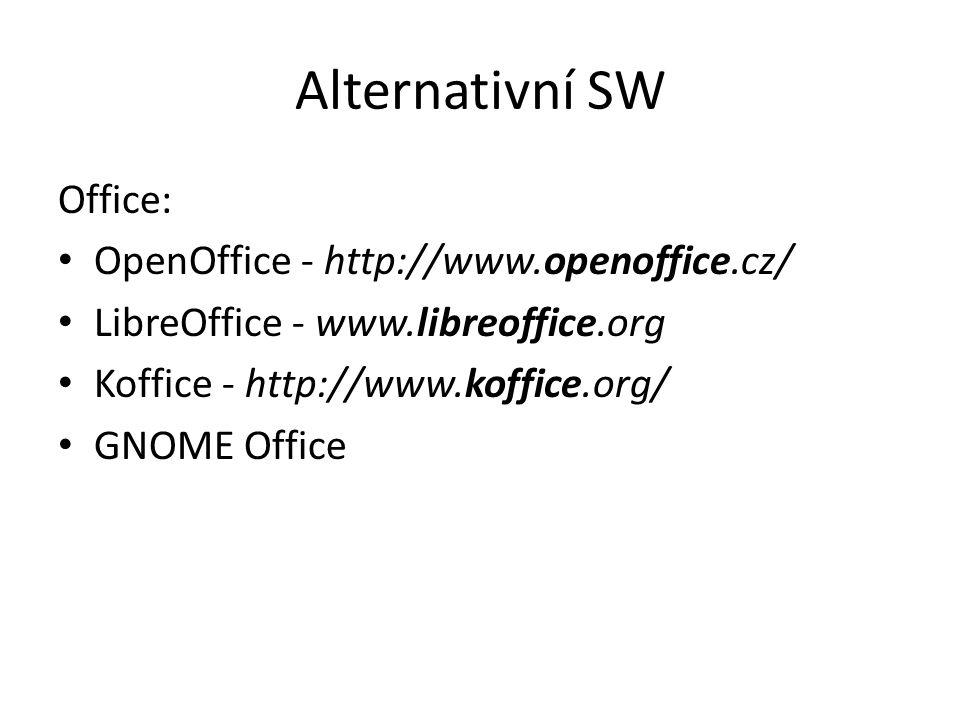 Alternativní SW Office: OpenOffice - http://www.openoffice.cz/ LibreOffice - www.libreoffice.org Koffice - http://www.koffice.org/ GNOME Office