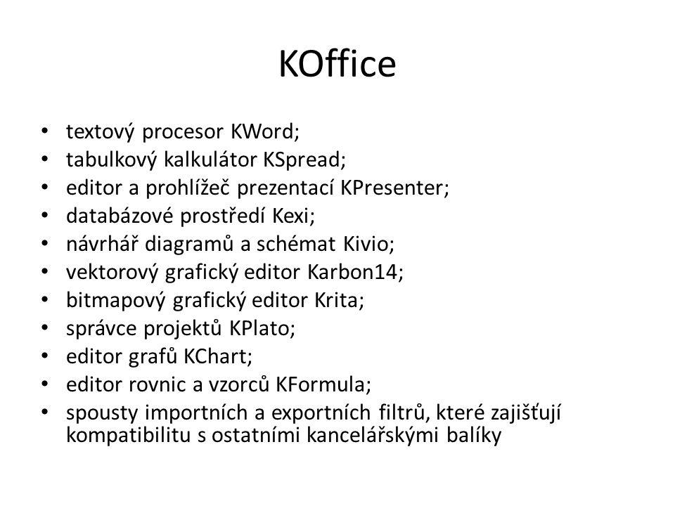 KOffice textový procesor KWord; tabulkový kalkulátor KSpread; editor a prohlížeč prezentací KPresenter; databázové prostředí Kexi; návrhář diagramů a schémat Kivio; vektorový grafický editor Karbon14; bitmapový grafický editor Krita; správce projektů KPlato; editor grafů KChart; editor rovnic a vzorců KFormula; spousty importních a exportních filtrů, které zajišťují kompatibilitu s ostatními kancelářskými balíky