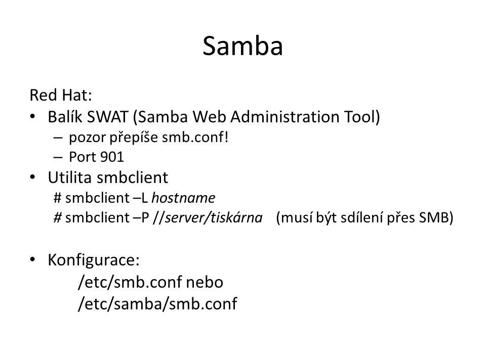 Samba Red Hat: Balík SWAT (Samba Web Administration Tool) – pozor přepíše smb.conf.