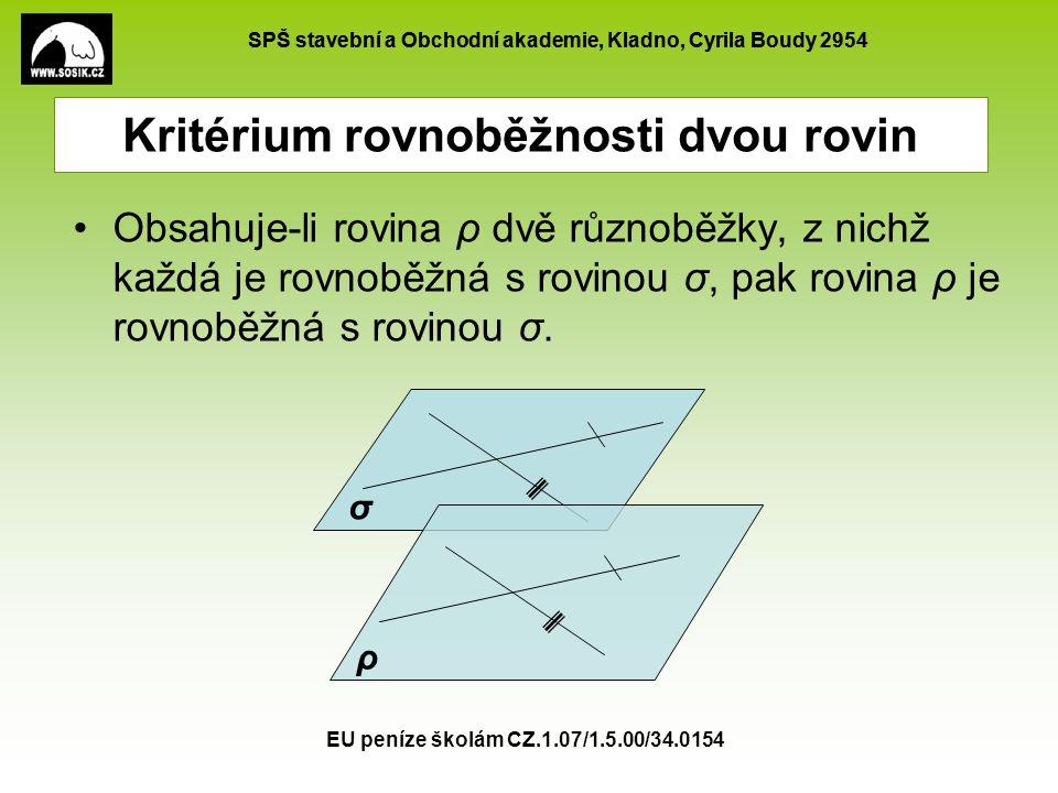 SPŠ stavební a Obchodní akademie, Kladno, Cyrila Boudy 2954 EU peníze školám CZ.1.07/1.5.00/34.0154 Kritérium rovnoběžnosti dvou rovin Obsahuje-li rov