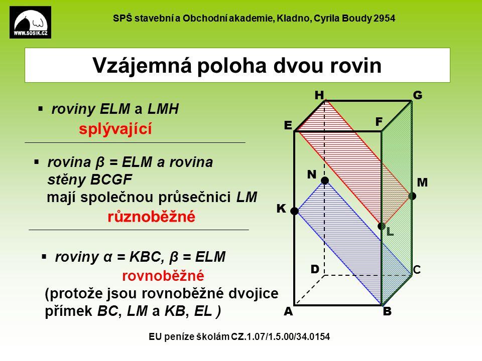 SPŠ stavební a Obchodní akademie, Kladno, Cyrila Boudy 2954 EU peníze školám CZ.1.07/1.5.00/34.0154 Vzájemná poloha dvou rovin AB C D E F GH K L M N 
