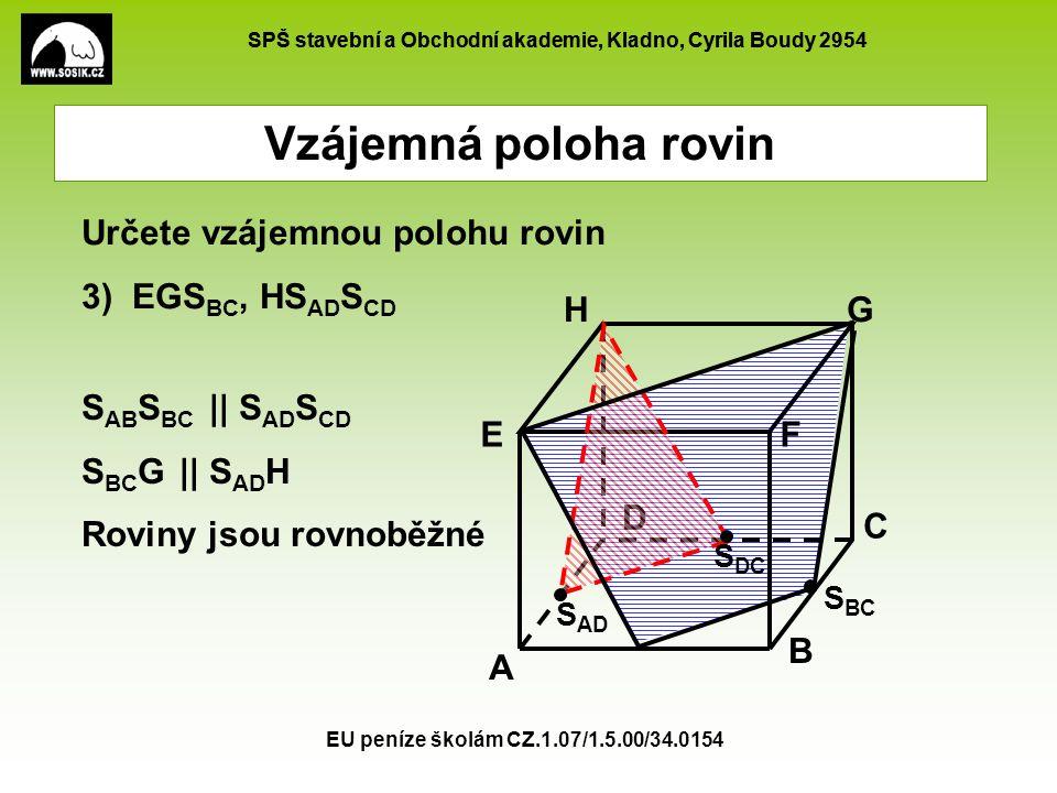 SPŠ stavební a Obchodní akademie, Kladno, Cyrila Boudy 2954 EU peníze školám CZ.1.07/1.5.00/34.0154 Vzájemná poloha rovin A B C D EF GH Určete vzájemn