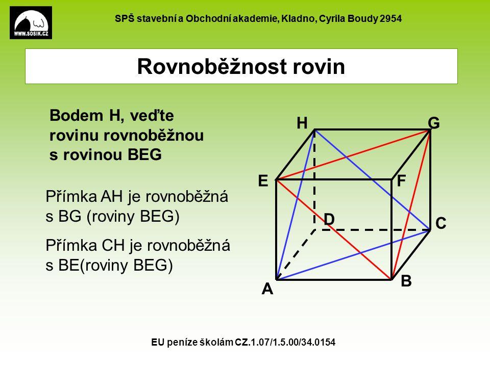 SPŠ stavební a Obchodní akademie, Kladno, Cyrila Boudy 2954 EU peníze školám CZ.1.07/1.5.00/34.0154 Rovnoběžnost rovin Bodem H, veďte rovinu rovnoběžn