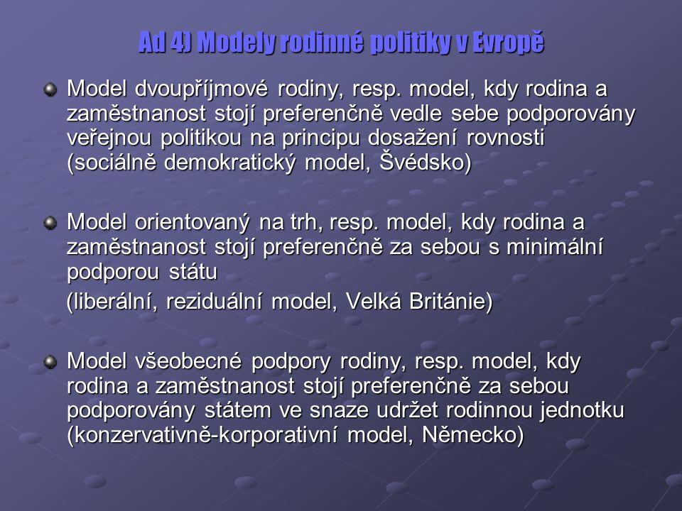 Ad 4) Modely rodinné politiky v Evropě Model dvoupříjmové rodiny, resp. model, kdy rodina a zaměstnanost stojí preferenčně vedle sebe podporovány veře