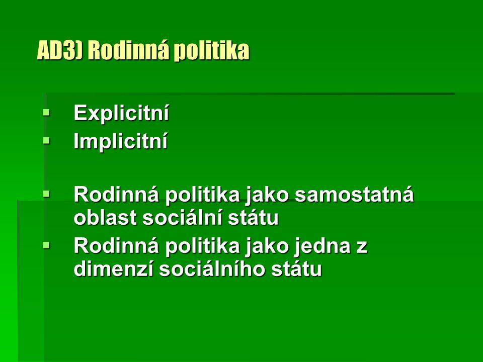 AD3) Rodinná politika  Explicitní  Implicitní  Rodinná politika jako samostatná oblast sociální státu  Rodinná politika jako jedna z dimenzí sociá
