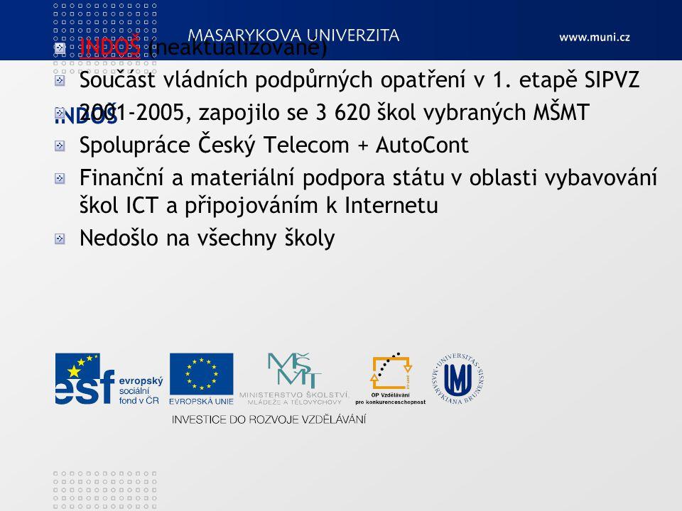INDOŠ INDOŠ (neaktualizované) Součást vládních podpůrných opatření v 1. etapě SIPVZ 2001-2005, zapojilo se 3 620 škol vybraných MŠMT Spolupráce Český