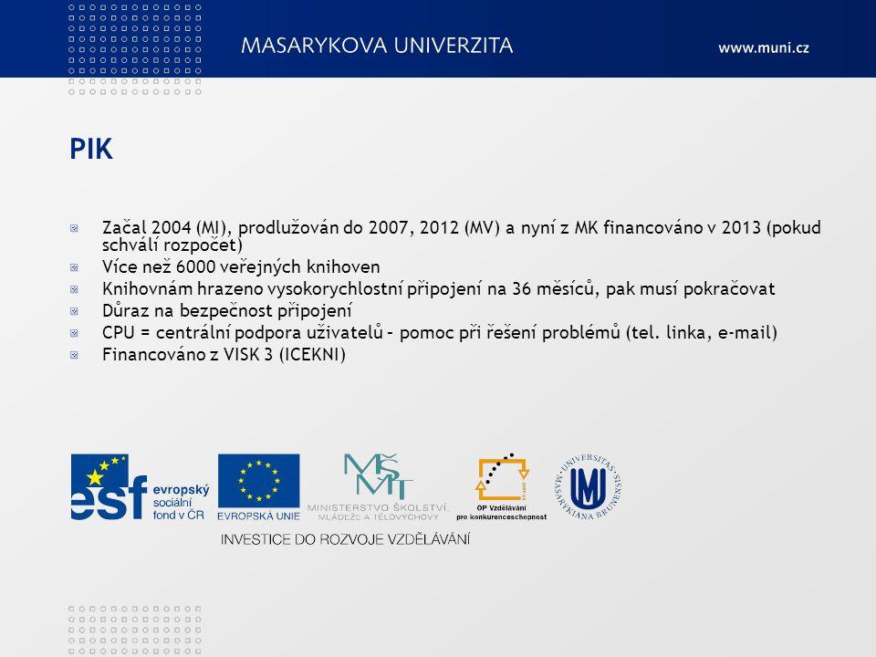 PIK Začal 2004 (MI), prodlužován do 2007, 2012 (MV) a nyní z MK financováno v 2013 (pokud schválí rozpočet) Více než 6000 veřejných knihoven Knihovnám