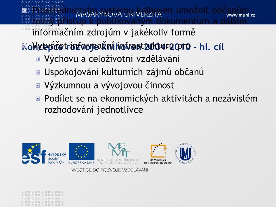 Koncepce rozvoje knihoven 2004-2010 – hl. cíl Prostřednictvím systému knihoven umožnit občanům rovný přístup k publikovaným dokumentům a dalším inform