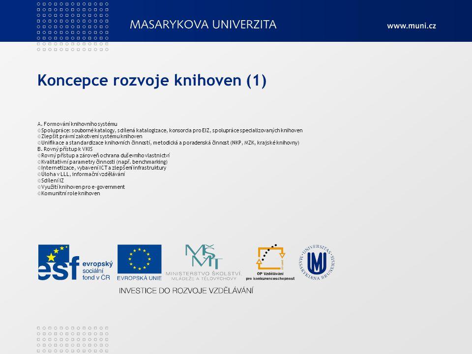Koncepce rozvoje knihoven (1) A. Formování knihovního systému  Spolupráce: souborné katalogy, sdílená katalogizace, konsorcia pro EIZ, spolupráce spe