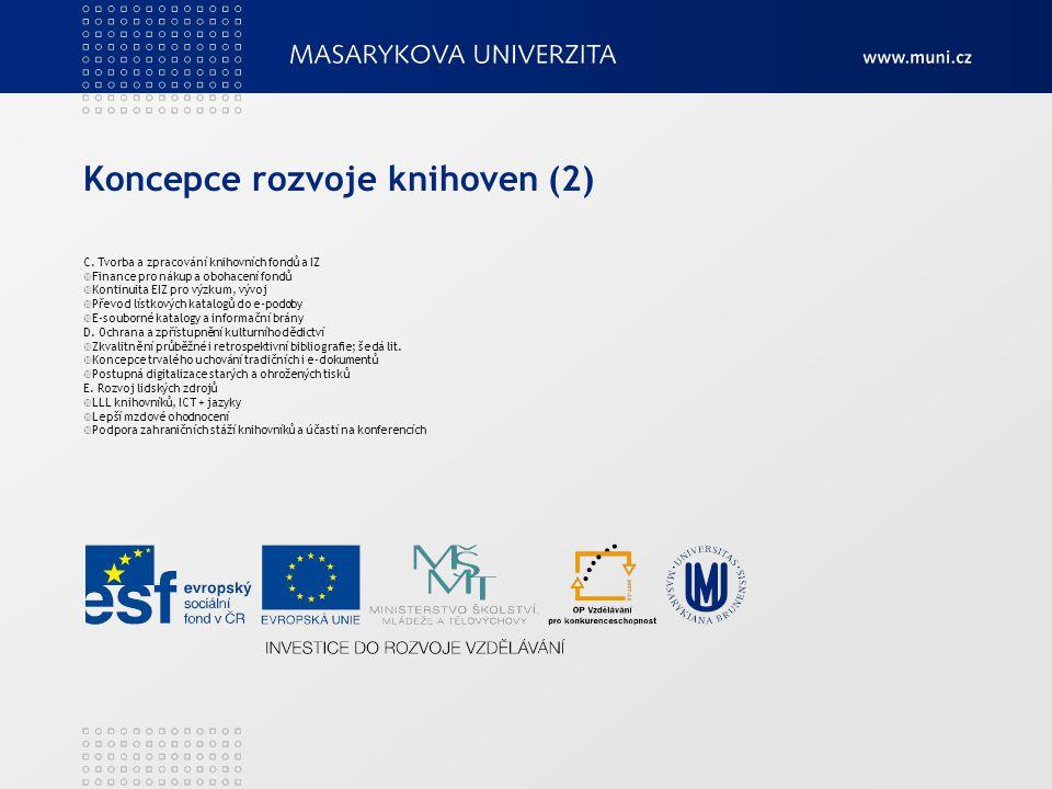 Koncepce rozvoje knihoven (2) C. Tvorba a zpracování knihovních fondů a IZ  Finance pro nákup a obohacení fondů  Kontinuita EIZ pro výzkum, vývoj 