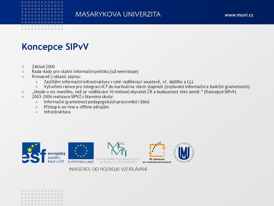Koncepce SIPvV Připojování škol k internetu, PIK + vybavenost vzdělávacích institucí ICT, IZ a vzdělávacím SW IG, integrace ICT do výuky Metodici ICT na školách LLL (pedagogové, knihovníci...) Všechny stupně a typy vzdělávání, vč.