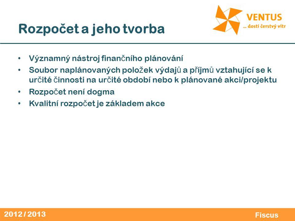 2012 / 2013 Fiscus Rozpo č et a jeho tvorba Významný nástroj finan č ního plánování Soubor naplánovaných polo ž ek výdaj ů a p ř íjm ů vztahující se k