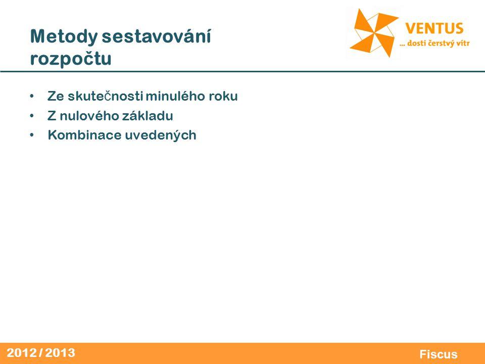 2012 / 2013 Fiscus Metody sestavování rozpo č tu Ze skute č nosti minulého roku Z nulového základu Kombinace uvedených