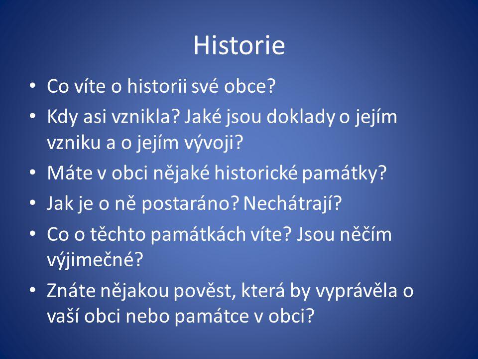 Historie Co víte o historii své obce.Kdy asi vznikla.