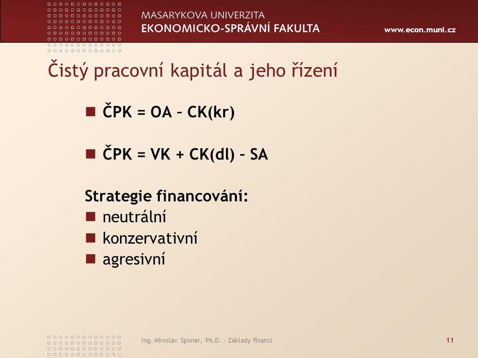 www.econ.muni.cz Ing. Miroslav Sponer, Ph.D. - Základy financí11 Čistý pracovní kapitál a jeho řízení ČPK = OA – CK(kr) ČPK = VK + CK(dl) – SA Strateg