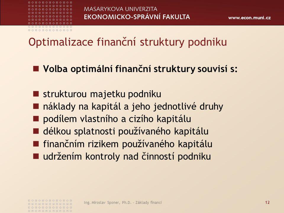 www.econ.muni.cz Optimalizace finanční struktury podniku Volba optimální finanční struktury souvisí s: strukturou majetku podniku náklady na kapitál a