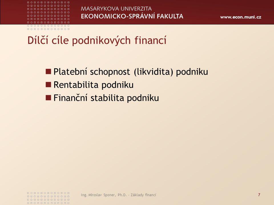 www.econ.muni.cz Ing. Miroslav Sponer, Ph.D. - Základy financí7 Dílčí cíle podnikových financí Platební schopnost (likvidita) podniku Rentabilita podn