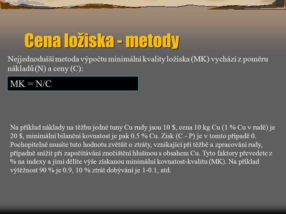 Cena ložiska - metody MK = N/C Nejjednodušší metoda výpočtu minimální kvality ložiska (MK) vychází z poměru nákladů (N) a ceny (C): Na příklad náklady na těžbu jedné tuny Cu rudy jsou 10 $, cena 10 kg Cu (1 % Cu v rudě) je 20 $, minimální bilanční kovnatost je pak 0.5 % Cu.