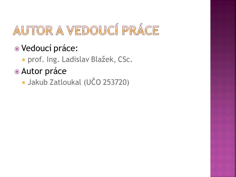  Vedoucí práce:  prof. Ing. Ladislav Blažek, CSc.  Autor práce  Jakub Zatloukal (UČO 253720)