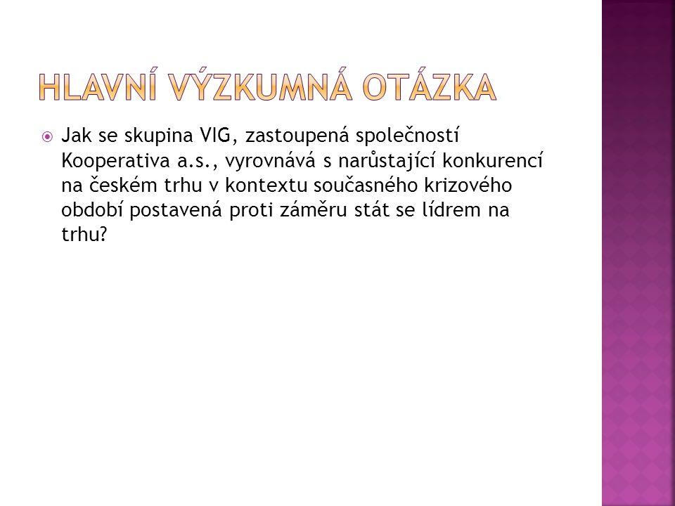  Jak se skupina VIG, zastoupená společností Kooperativa a.s., vyrovnává s narůstající konkurencí na českém trhu v kontextu současného krizového období postavená proti záměru stát se lídrem na trhu