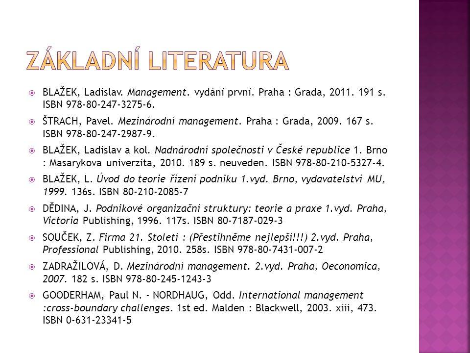  BLAŽEK, Ladislav.Management. vydání první. Praha : Grada, 2011.