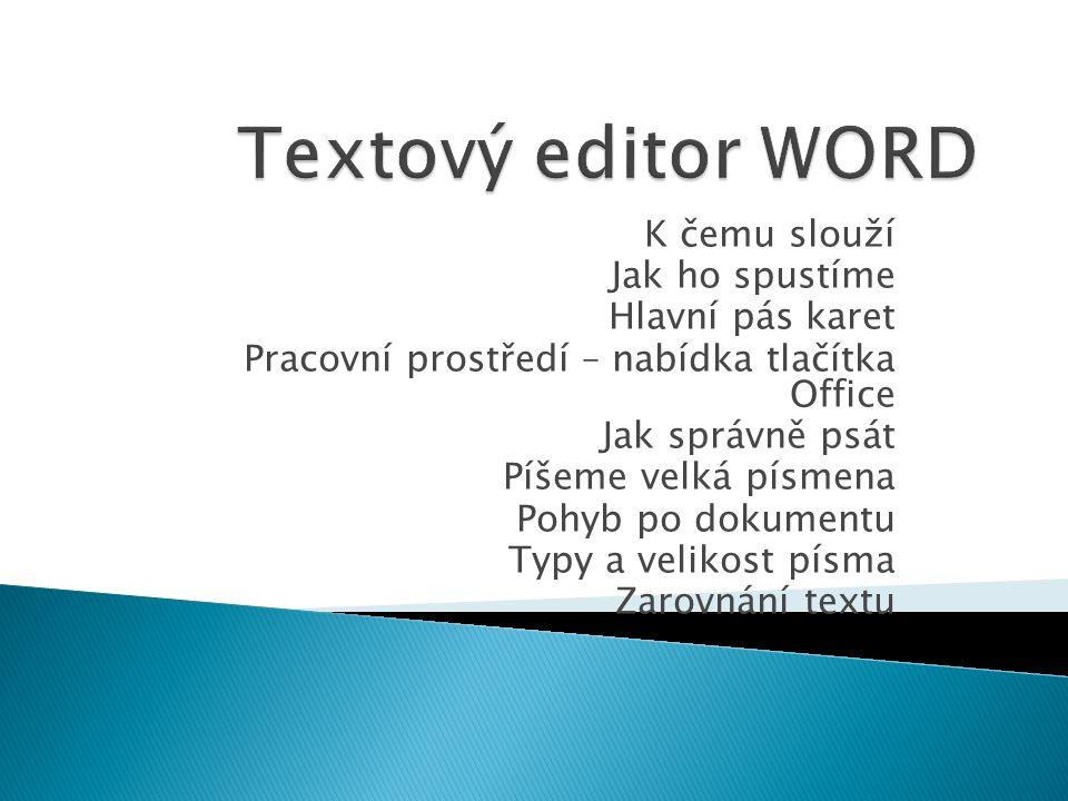  Textový editor je program určený k:  - psaní  - editaci  - grafické úpravě textu  MS Word je nejrozšířenější textový editor v České republice.