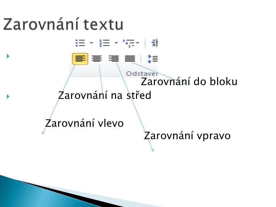 Zarovnání textu  Zarovnání do bloku  Zarovnání na střed Zarovnání vlevo Zarovnání vpravo