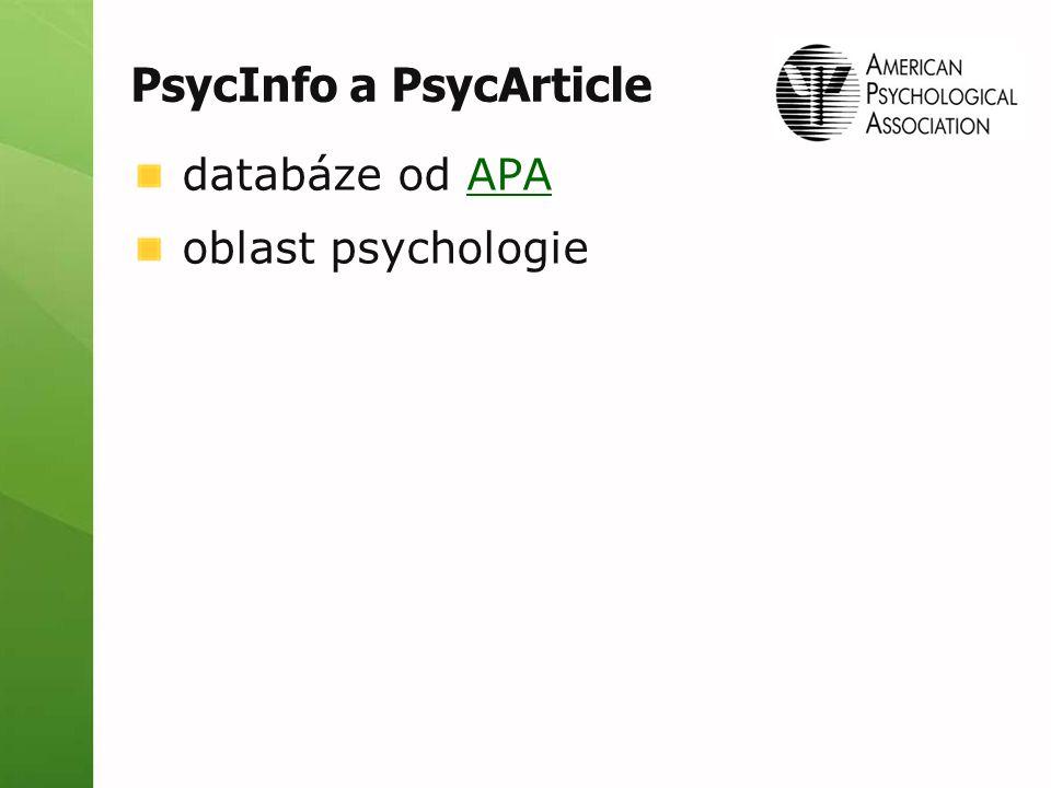 PsycInfo a PsycArticle databáze od APAAPA oblast psychologie
