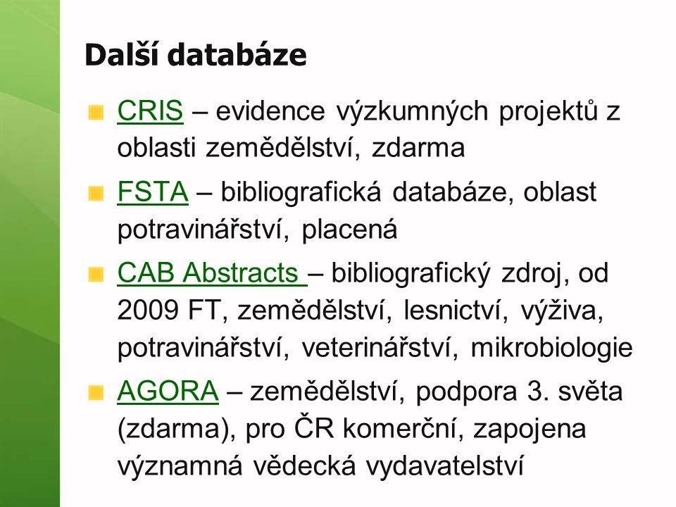 Další databáze CRISCRIS – evidence výzkumných projektů z oblasti zemědělství, zdarma FSTAFSTA – bibliografická databáze, oblast potravinářství, placen