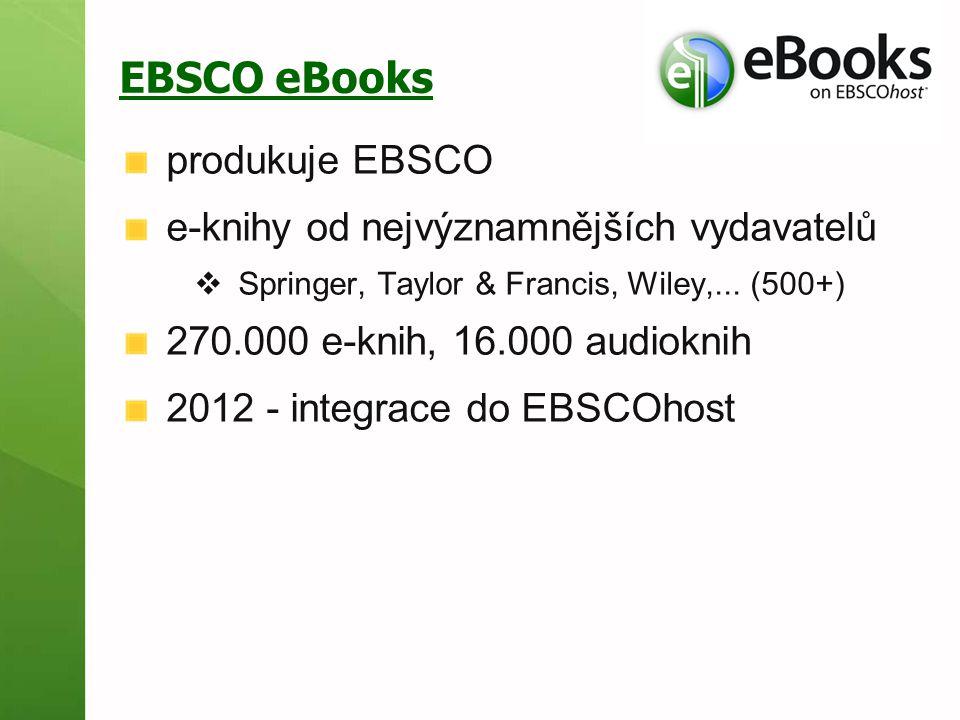 EBSCO eBooks produkuje EBSCO e-knihy od nejvýznamnějších vydavatelů  Springer, Taylor & Francis, Wiley,... (500+) 270.000 e-knih, 16.000 audioknih 20