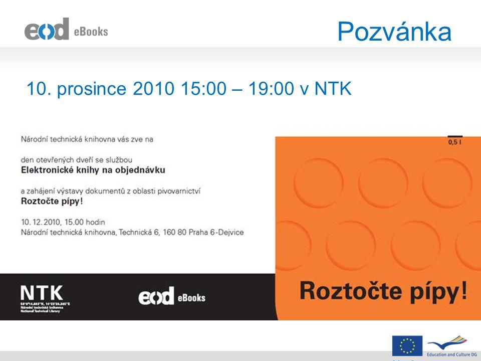 Pozvánka 10. prosince 2010 15:00 – 19:00 v NTK