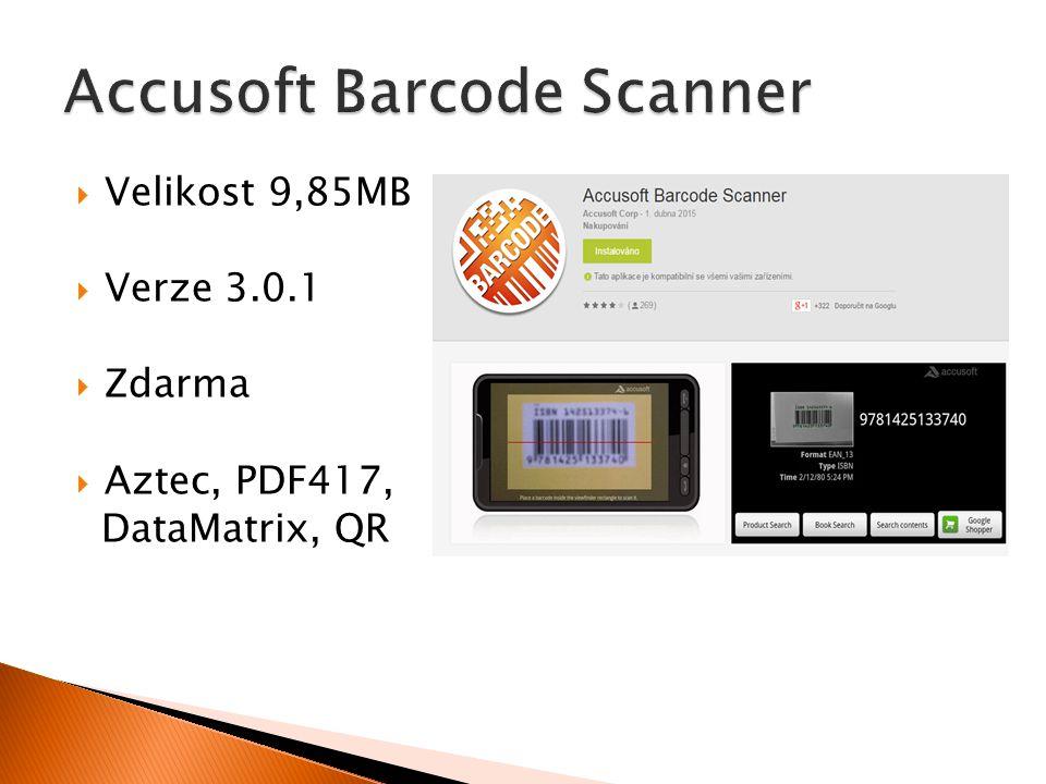  Velikost 9,85MB  Verze 3.0.1  Zdarma  Aztec, PDF417, DataMatrix, QR