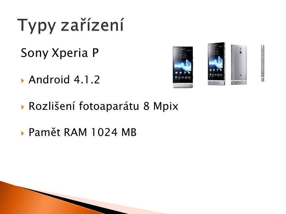 Sony Xperia P  Android 4.1.2  Rozlišení fotoaparátu 8 Mpix  Pamět RAM 1024 MB