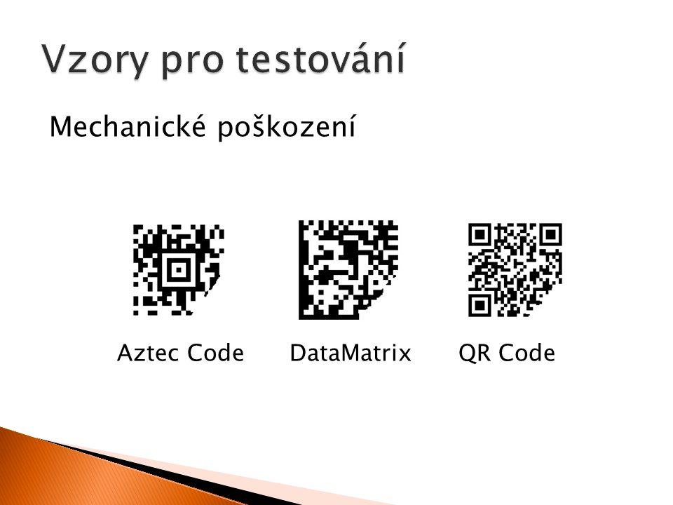Mechanické poškození Aztec Code DataMatrix QR Code