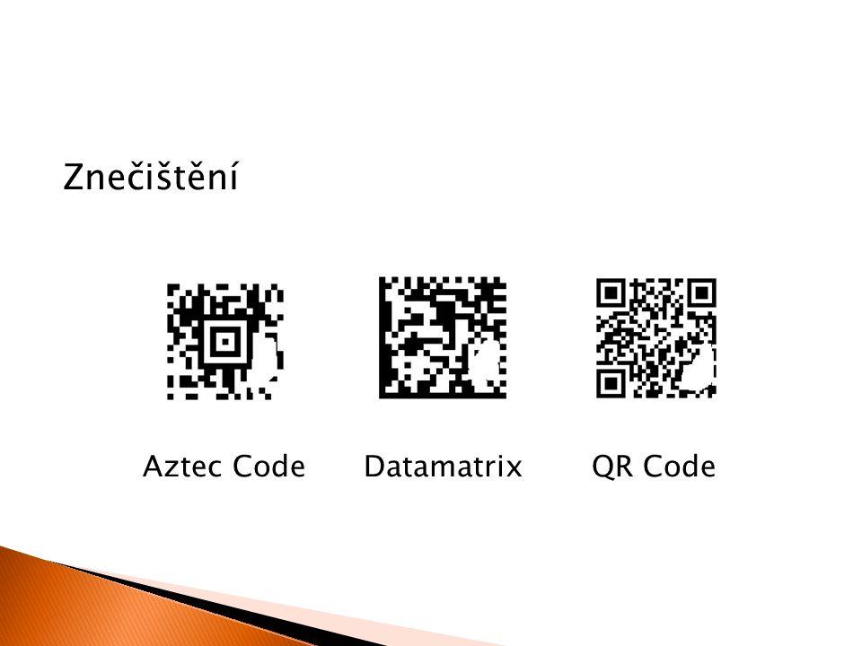 Znečištění Aztec Code Datamatrix QR Code