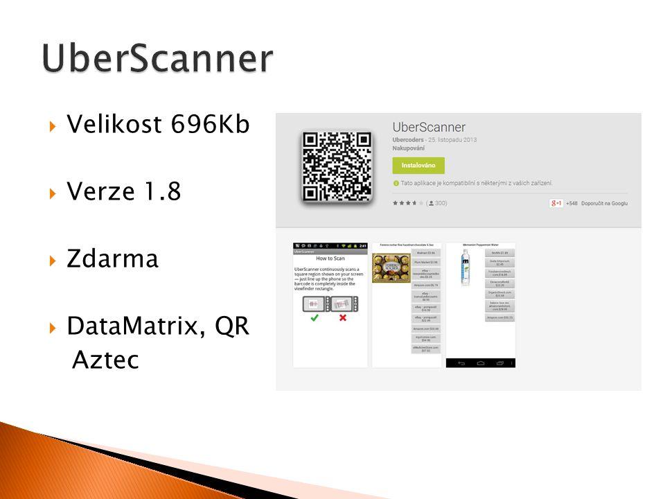  Velikost 696Kb  Verze 1.8  Zdarma  DataMatrix, QR Aztec