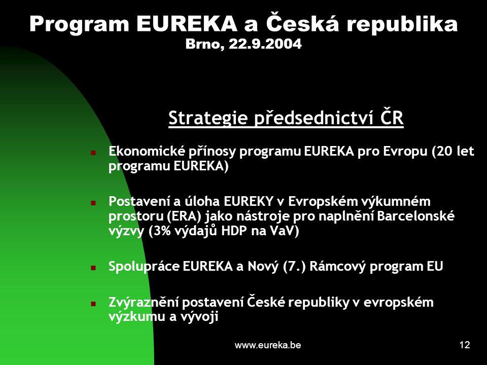 www.eureka.be12 Program EUREKA a Česká republika Brno, 22.9.2004 Strategie předsednictví ČR Ekonomické přínosy programu EUREKA pro Evropu (20 let prog