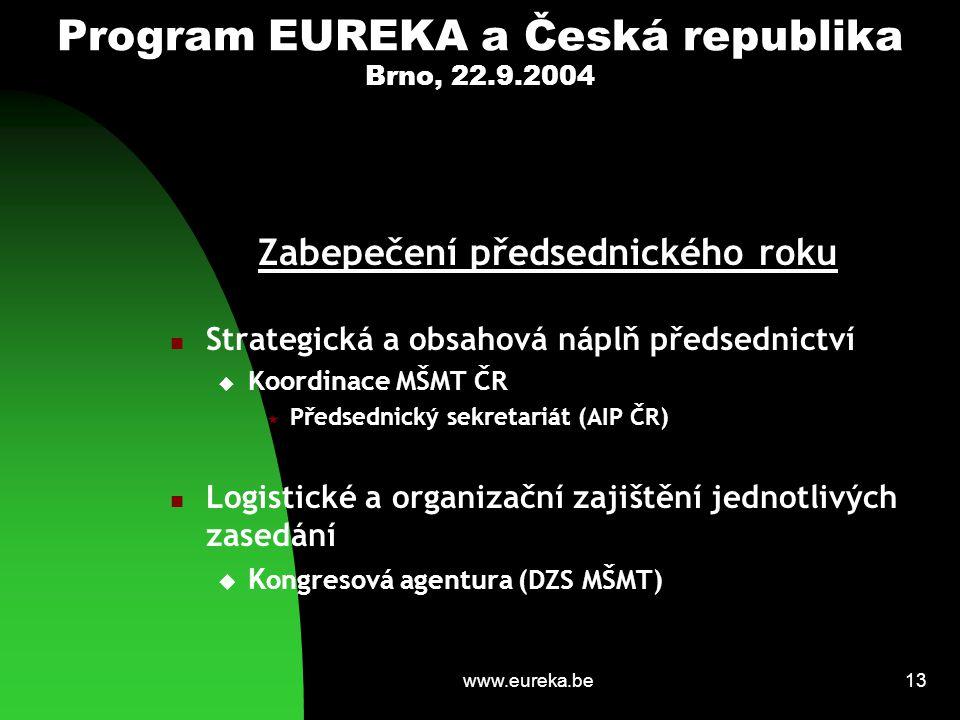 www.eureka.be13 Program EUREKA a Česká republika Brno, 22.9.2004 Zabepečení předsednického roku Strategická a obsahová náplň předsednictví  Koordinac