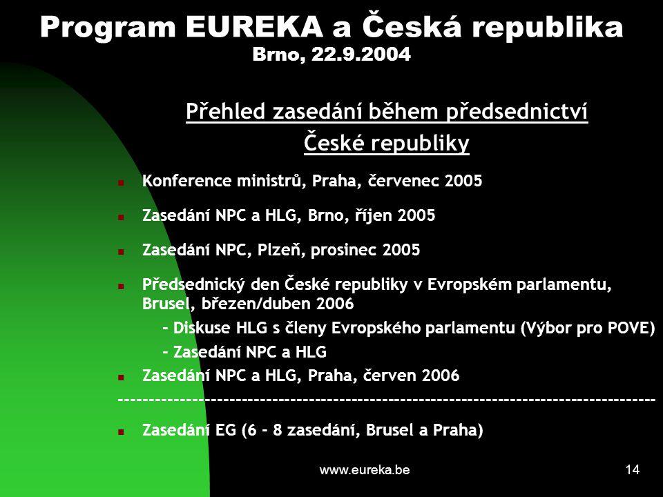 www.eureka.be14 Program EUREKA a Česká republika Brno, 22.9.2004 Přehled zasedání během předsednictví České republiky Konference ministrů, Praha, červ
