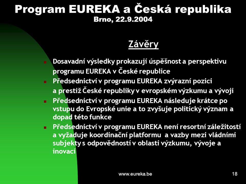 www.eureka.be18 Program EUREKA a Česká republika Brno, 22.9.2004 Závěry Dosavadní výsledky prokazují úspěšnost a perspektivu programu EUREKA v České r