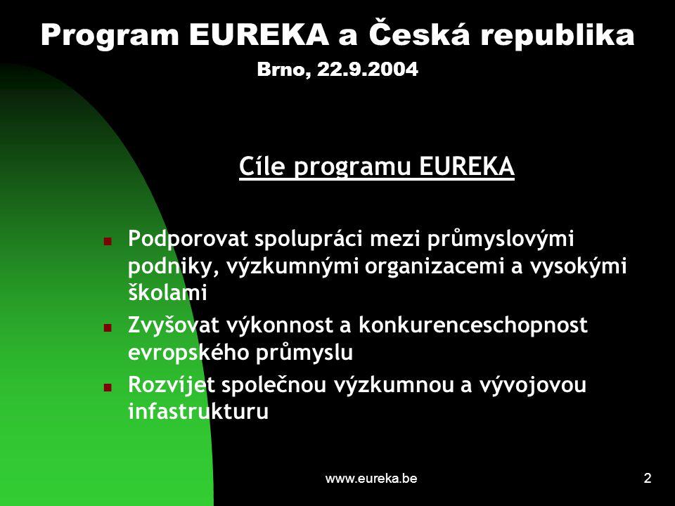 www.eureka.be3 Program EUREKA a Česká republika Brno, 22.9.2004 Historie programu EUREKA EUREKA vyhlášena jako Evropská iniciativa v roce 1985 (17 zemí a Komise ES) Otevření spolupráce se zeměmi SVE 1990/1991 (Maďarsko členem v roce 1992, Česká republika členem v roce 1995) V současnosti spolupráce 33 zemí a Komise EU (dále 3 přidružené evropské země a statut asociovaného partnera Maroko)