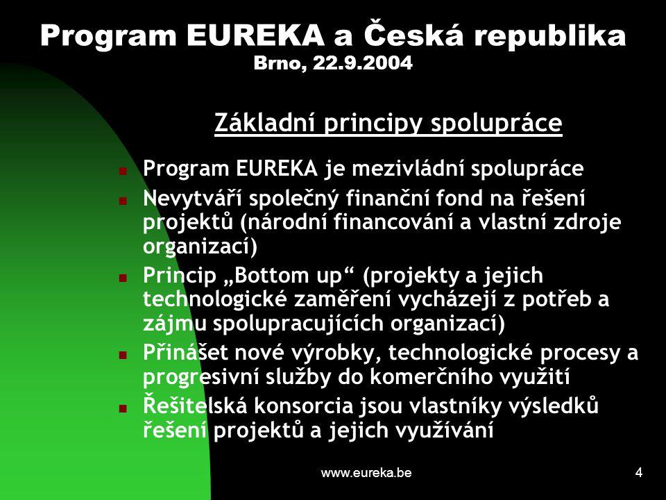 www.eureka.be5 Program EUREKA a Česká republika Brno, 22.9.2004 Struktura programu EUREKA Rotující předsednictví členských zemích  Výkonná skupina (Executive Group) -------------------------------------------------------------- Sekretariát EUREKY v Bruselu (ESE) Národní sekretariáty (kanceláře) v členských zemích --------------------------------------------------------------- Skupina národních koordinátorů (NPC Group) Skupina vysokých představitelů (HLG Group) Konference ministrů (Ministerial Conference)