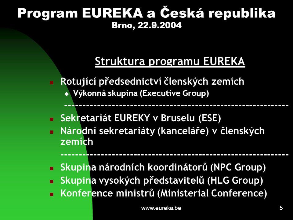 www.eureka.be5 Program EUREKA a Česká republika Brno, 22.9.2004 Struktura programu EUREKA Rotující předsednictví členských zemích  Výkonná skupina (E