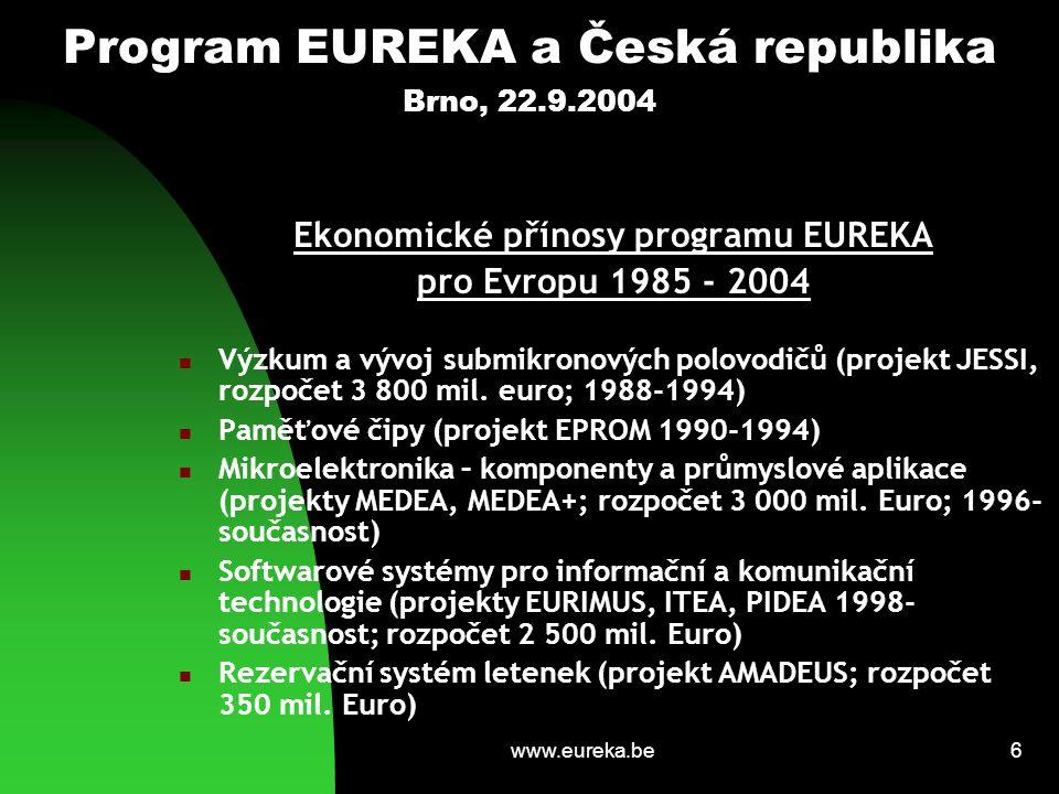 www.eureka.be17 Program EUREKA a Česká republika Brno, 22.9.2004 Předsednická odpovědnost a postavení České republiky v evropské spolupráci a integraci Vstup České republiky do Evropské unie je následován funkcí předsednické země v programu EUREKA v časově blízské návaznosti Předsednictví v programu EUREKA je v rovině pilotního projektu v rámci odpovědnosti za evropskou (unijní) strategii a politiku