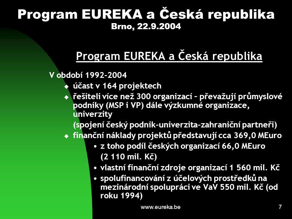 www.eureka.be8 Program EUREKA a Česká republika Brno, 22.9.2004 Program EUREKA a Česká republika V období 1992-2004  převažují projekty zaměřené na problematiku nových materiálů, biotechnologií a životního prostředí  málo projektů zaměřených na informační a komunikační technologie  zahraniční spoluřešitelské organizace převažují z Německa a Rakouska  účast průmyslových podniků (MSP i VP) v projektech EUREKA je vyšší než v Rámcovém programu EU